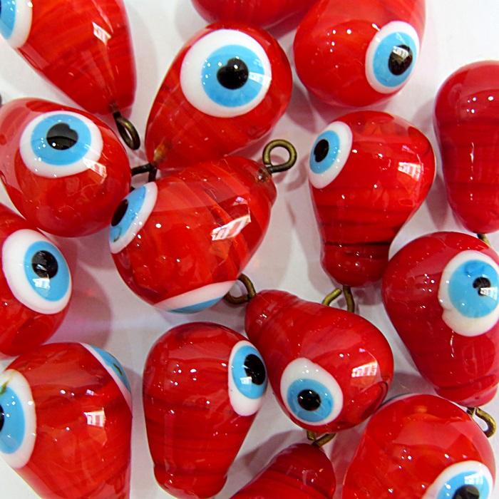Olho grego pingente gota vermelho- OGP036