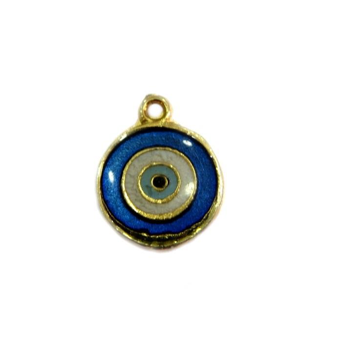 Pingente olho grego dourado azulão- PTD071