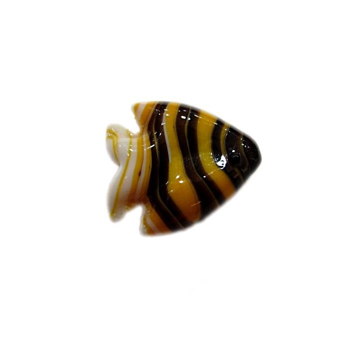 Peixe de murano amarelo gema/ preto/ branco (10 unidades)- MU616