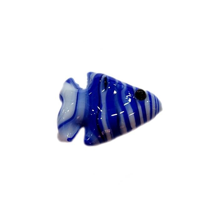 Peixe de murano azul royal/ branco (10 unidades)- MU624