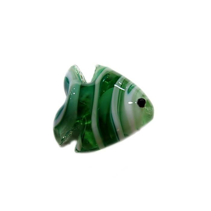 Peixe de murano verde/ branco (10 unidades)- MU627