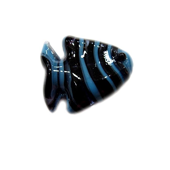 Peixe de murano preto/ azul turquesa (10 unidades)- MU630