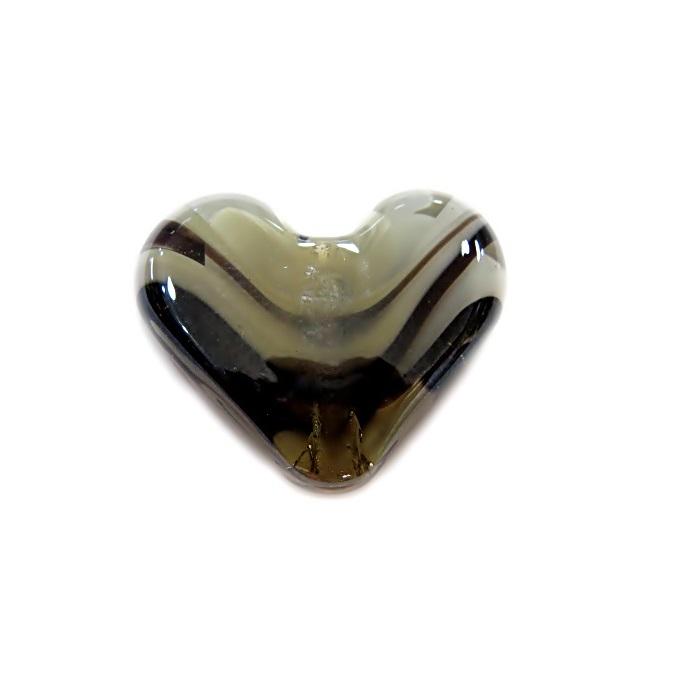 Coração de murano pequeno preto/ branco irisado - MU652
