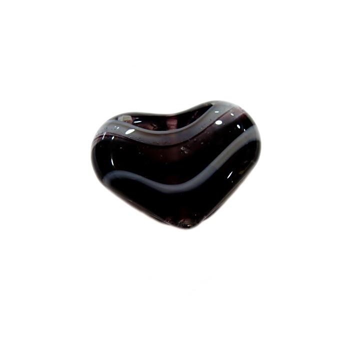 Coração de murano pequeno preto/ branco - MU653