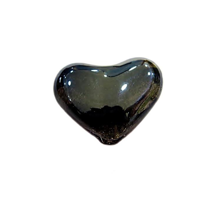 Coração de murano pequeno preto irisado- MU655