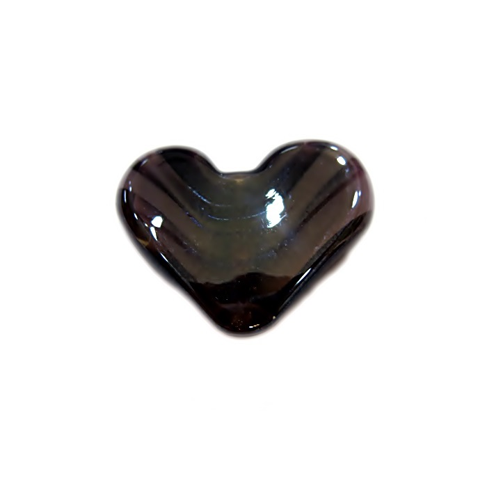Coração de murano pequeno preto/ lilás irisado- MU656