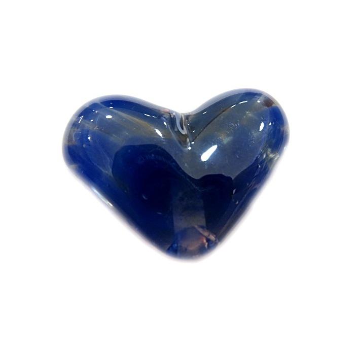 Coração de murano pequeno azul royal/ cristal irisado - MU657