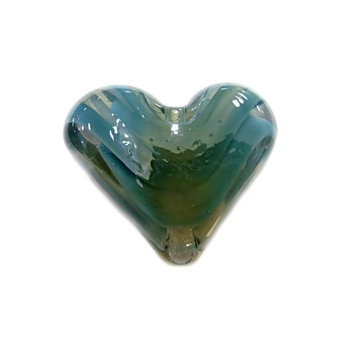 Coração de murano pequeno azul turquesa com branco irisado- MU658