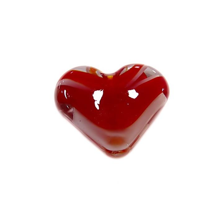 Coração de murano pequeno vermelho/ branco- MU659