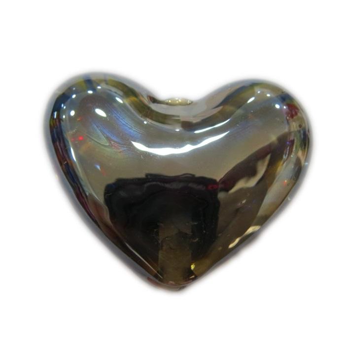 Coração de murano grande preto irisado - MU662