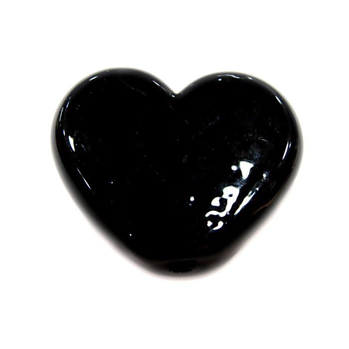 Coração de murano grande preto- MU663