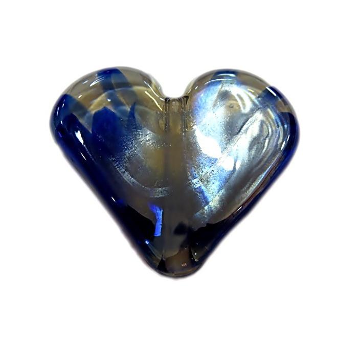 Coração de murano grande azul royal/ cristal irisado- MU664