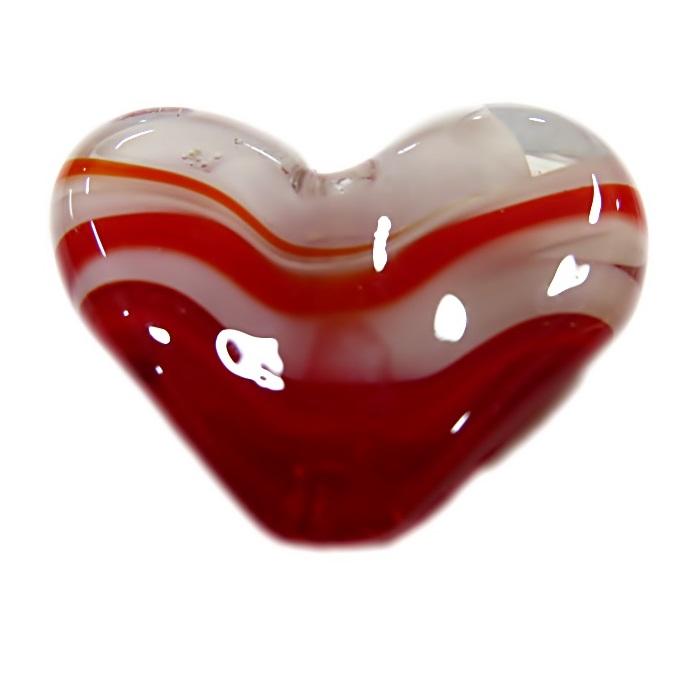Coração de murano grande vermelho/ branco - MU665