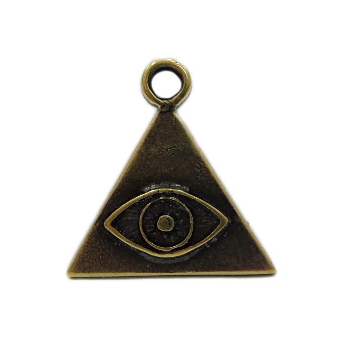 Pingente ouro velho triangulo/ olho- PTO075