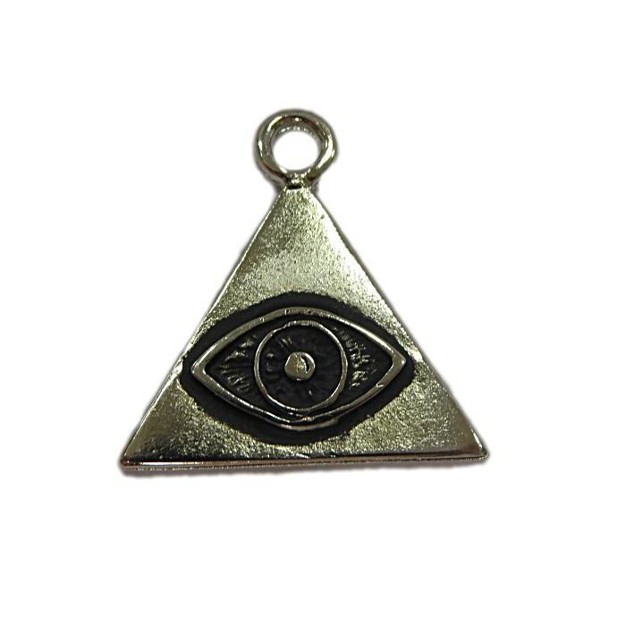 Pingente níquel envelhecido triangulo/ olho- PTN108