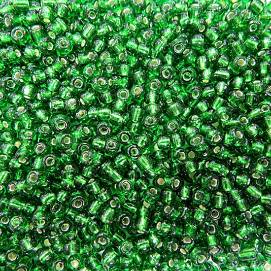Miçanga chinesa verde metalizado (500grs)- MIÇ024 ATACADO