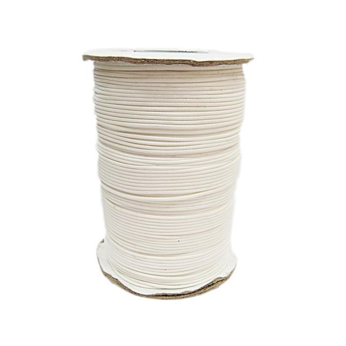 Cordão encerado brilhoso branco fino (200 mts)- CA002 ATACADO