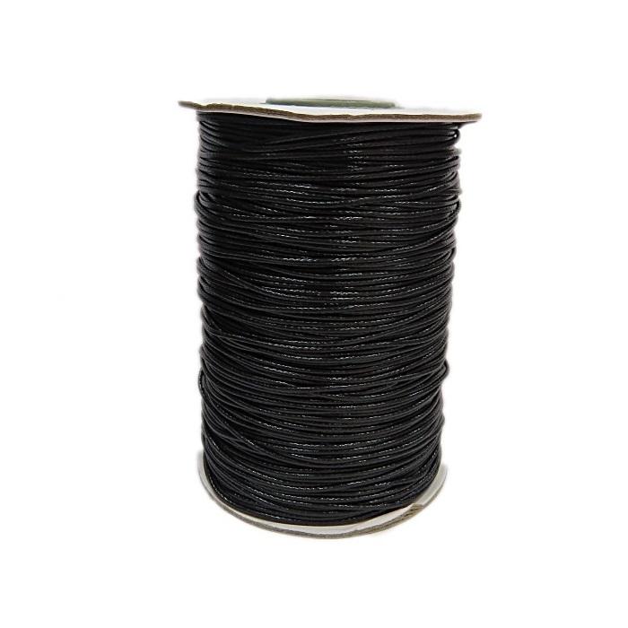Cordão encerado brilhoso preto fino (200 mts)- CA008 ATACADO