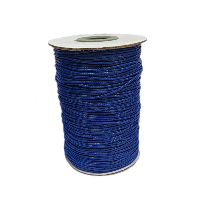 Cordão encerado brilhoso azul bic fino (200 mts)- CA010 ATACADO