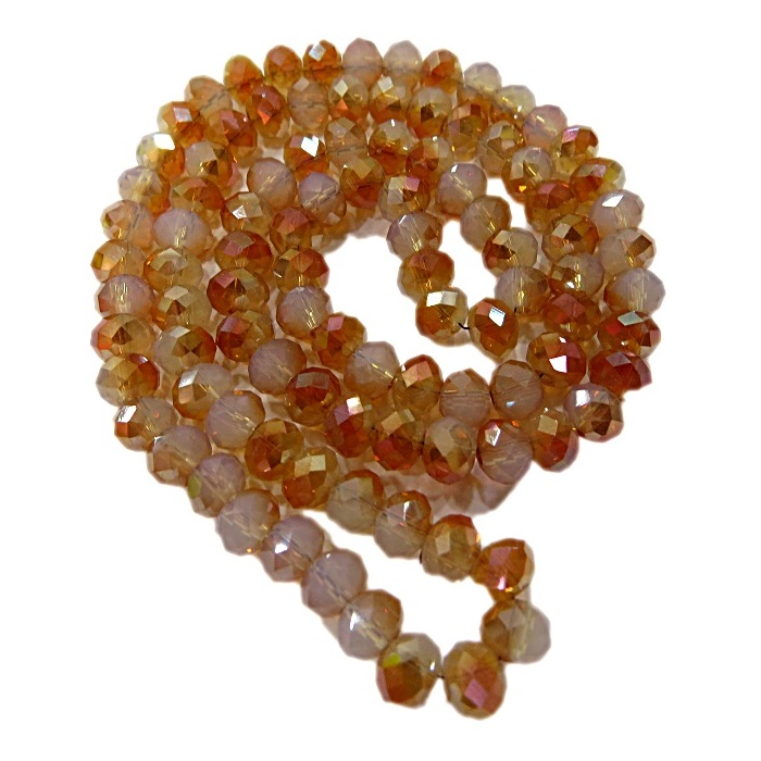 Fio de cristal chinês Nº 06 caramelo/ white opal- CC012