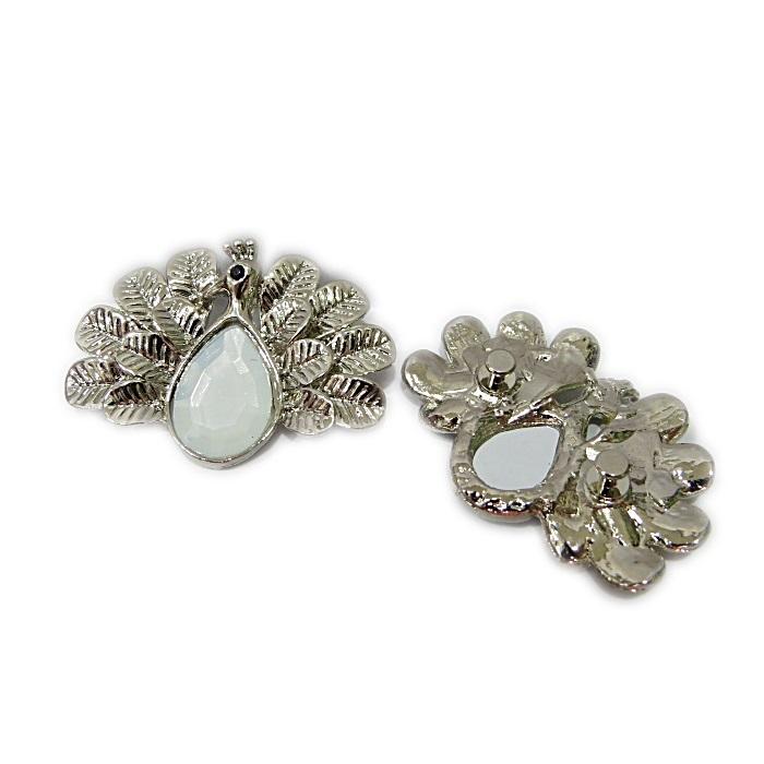 Piercing níquel pavão white opal (Par)- PIN040