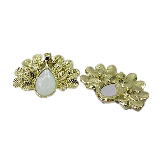 Piercing dourado pavão white opal (Par)- PIN069