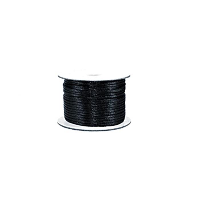 Cordão de seda grosso preto (50mts)- FSG019 ATACADO