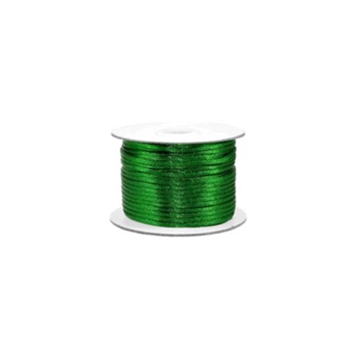 Cordão de seda grosso verde bandeira ( 50mts)- FSG014 ATACADO