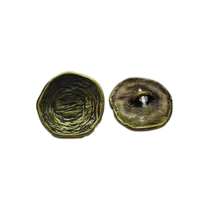 Fecho botão riscado Ouro velho G (10 unid.)- FBTO001