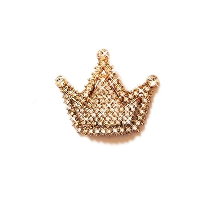 Entremeio com garra dourado coroa grande de strass (1 Par)- EG017