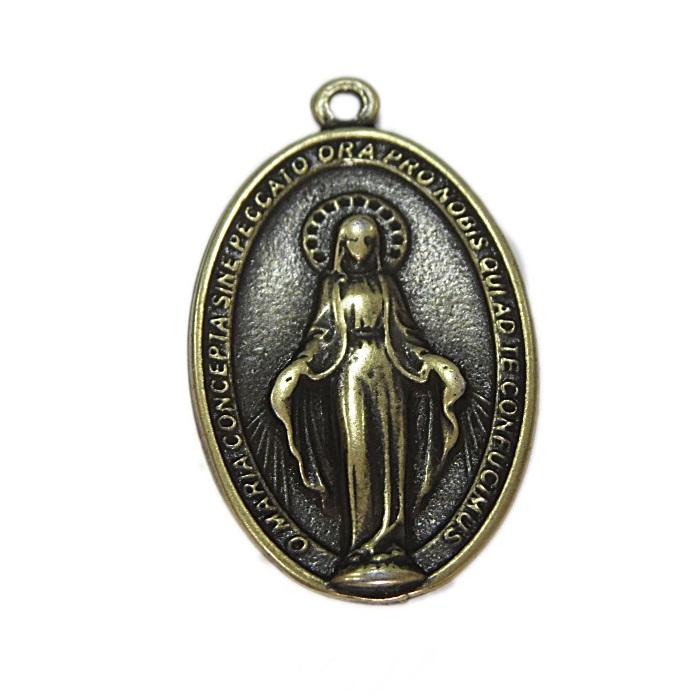 Pingente ouro velho oval santo- PTO083