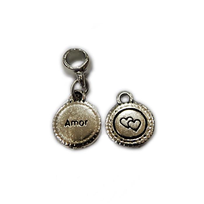 Berloque pingente níquel medalinha- BEN334