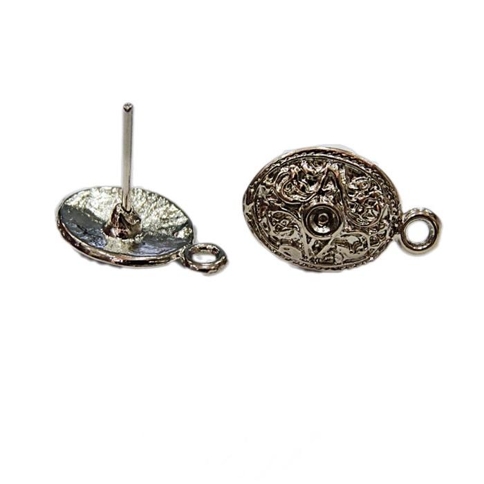 Base de brinco níquel oval trabalhada (04 pares)- BAN011