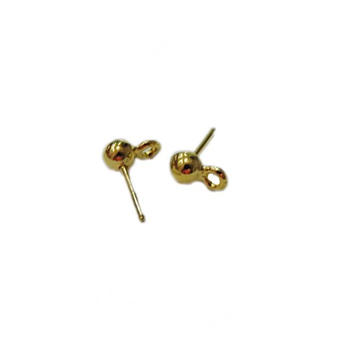 Base de brinco dourada bolinha (4 pares)- BAD005