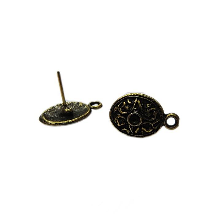 Base de brinco ouro velho oval trabalhada (3 pares)- BAO004