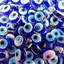 Olho grego achatado pingente azulão/ turquesa pequeno- (10 unidades)- OGP020