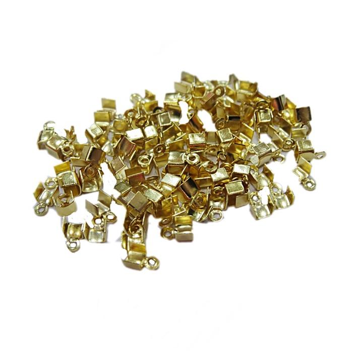Terminal de amassar c/ saida dourado Nº03 - 5mm (50 unid.)- TAD004