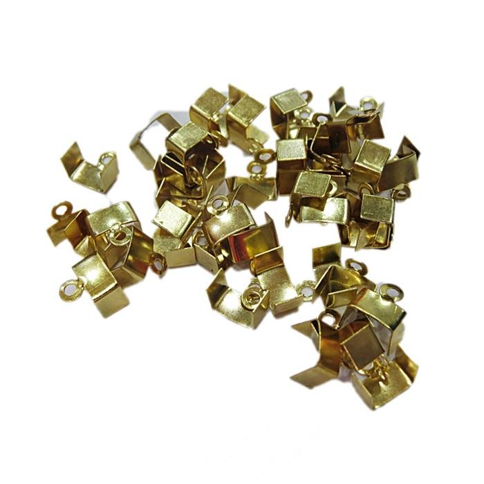 Terminal de amassar c/ saida dourado 10mm (30 unid.)- TAD009