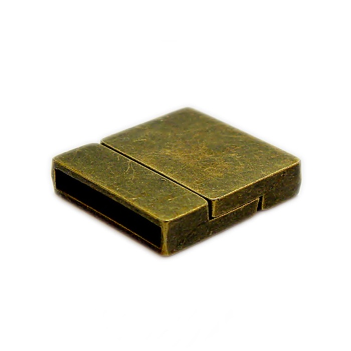 Fecho ima ouro velho retangular liso (01 unid.)- FIO010