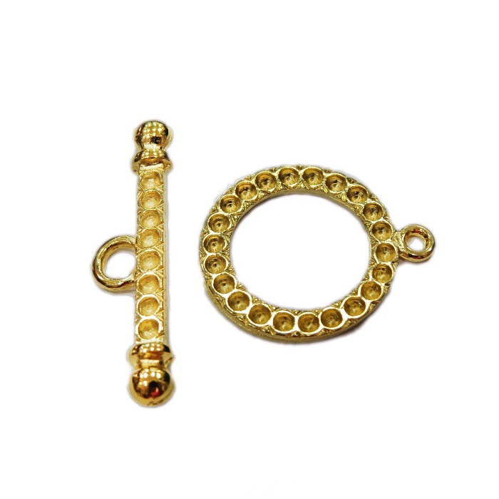 Fecho T Dourado redondo para strass SS8 (04 unidades)- FTD004