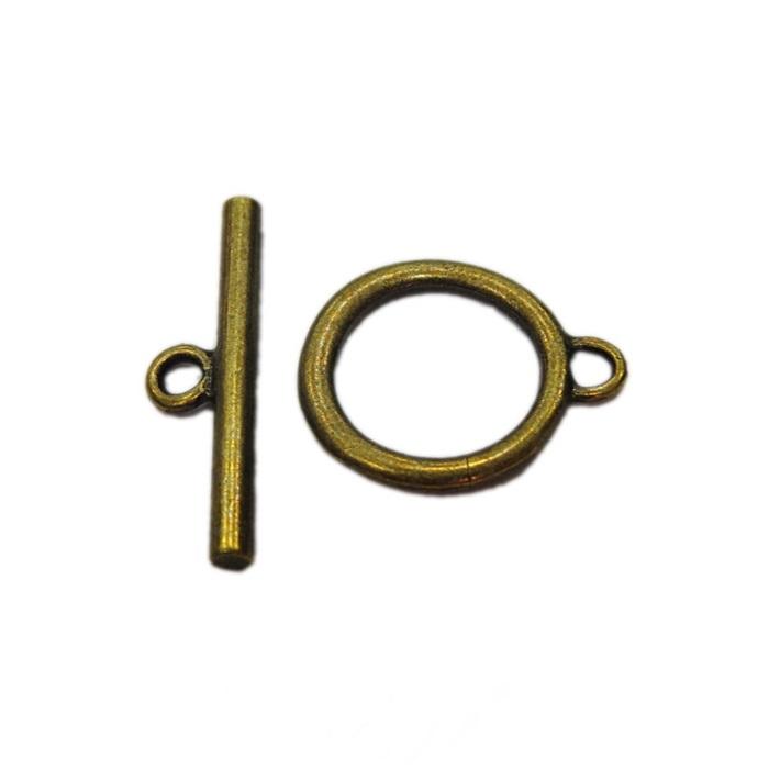 Fecho T ouro velho redondo liso G (06 unid.)- FTO002