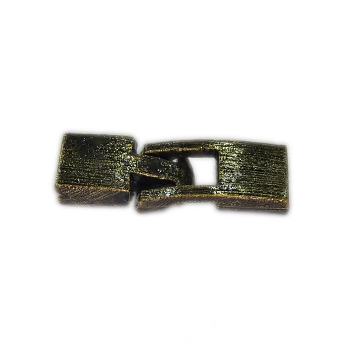Fecho ouro velho de encaixe retangular P (02 unid.)- FEO001
