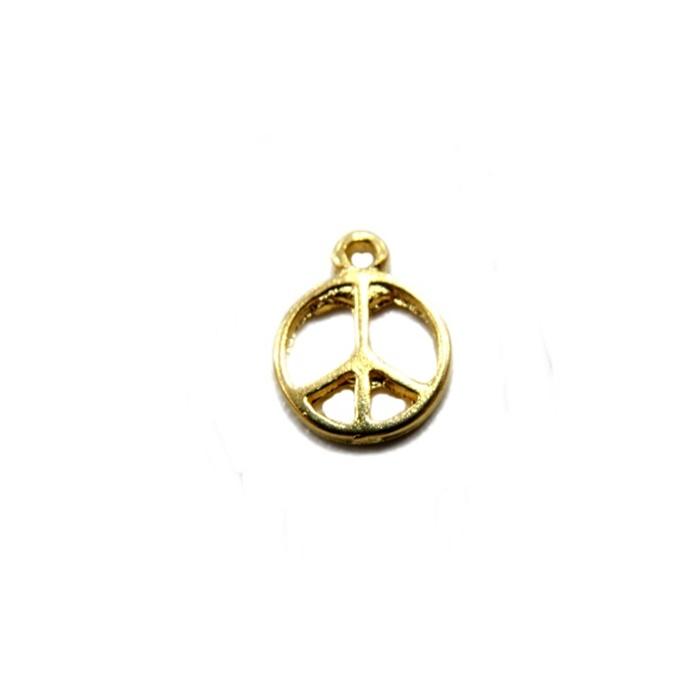Pingente Paz e amor pequeno dourado (10 unidades)- PTD012
