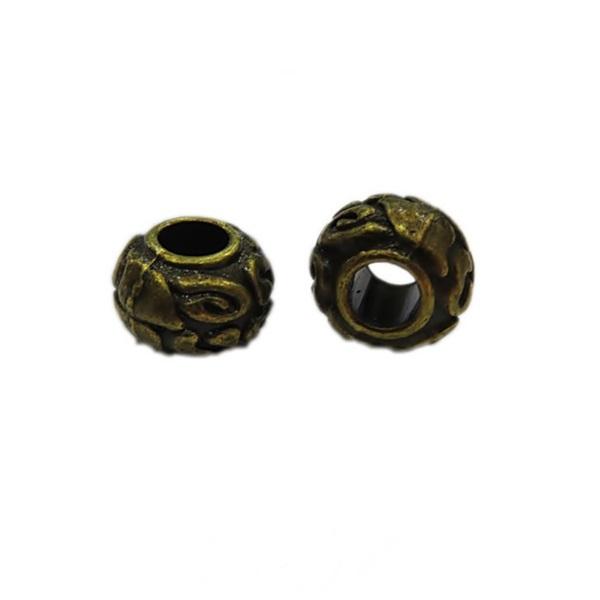 Entremeio ouro velho tubo achatado desenhado (10 unid.)- ETO012
