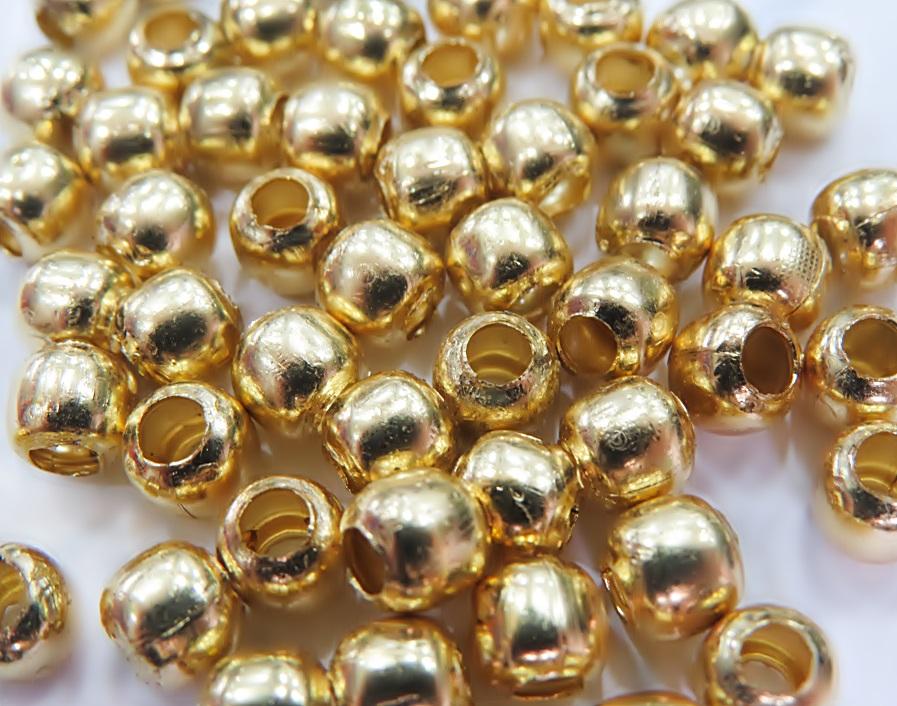 Bolinha dourada de latão lisa c/ buraco grande Nº 5,5 ou Nº 6,5 (25 grs)- BLD001