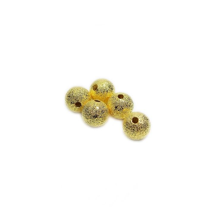 Bolinha dourada craquelada 8mm (10 unid.)- BCD001