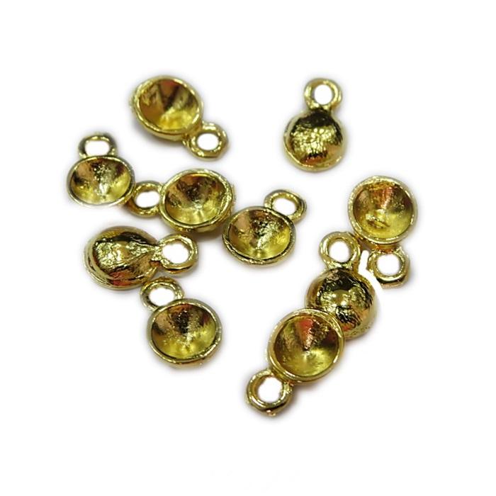 Mini pingente dourado conchinha p/ strass SS28 (10 unid.)- MPD001