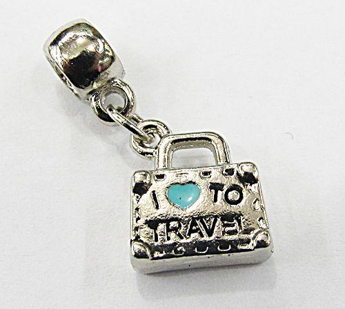 Berloque pingente níquel mala I ♥ to travel turquesa- BEN340