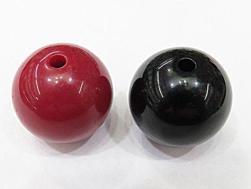 Bola De Resina N°26 Vermelha/Preta (02Pçs) - BOR001