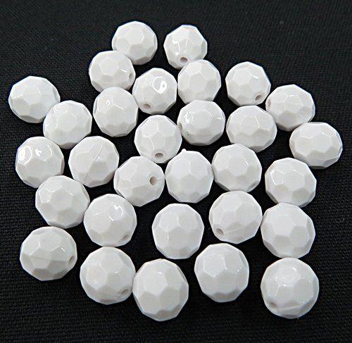 Bolinha De Acrilico Facetada Branca Leitosa N°08e10 (25 gramas) - BAF014